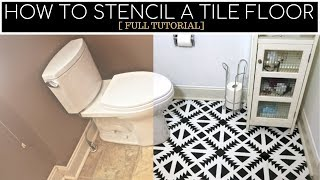 How To Stencil A Linoleum Tile Floor [ STEP BY STEP ]