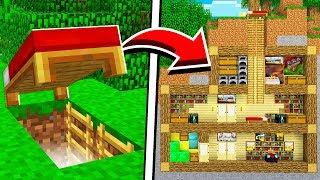 How to Build a SECRET BASE Under a Bed in Minecraft! (NO MODS!)