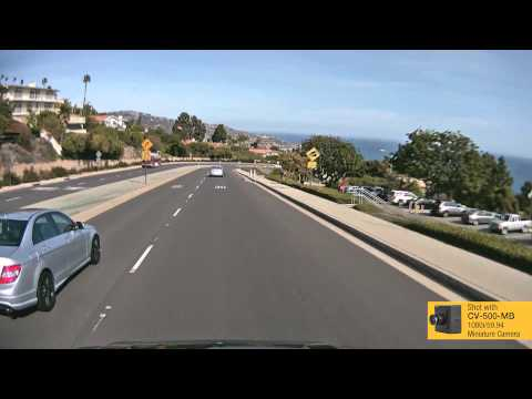 Video footage from Marshall's CV500-MB Miniature Broadcast Camera mounted on roof of Tahoe.