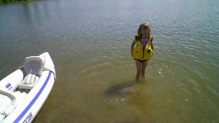 Zoe Tries Out Grandpa's New Toy -- A Kayak