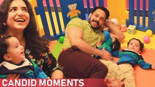 LOVELY: Bharath Fun Time With his Twins in their Play Arena