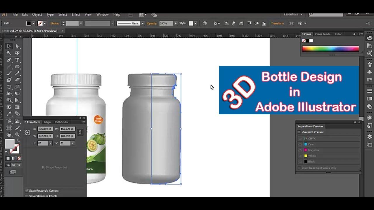How to create 3D bottle in Adobe Illustrator Adobe Illustrator CC 2017  YouTube