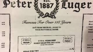 Peter Luger Steak House Brooklyn New York Menu Prices With Inflation NYC