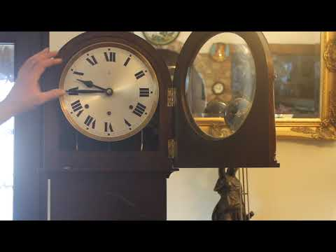 Antique German 'HAC' Longcase Grandmother 8-Day Oak Clock with Westminster Chimes