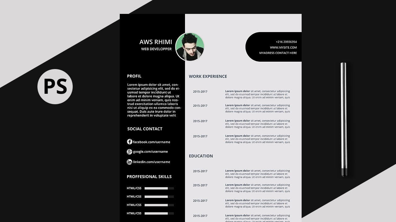 petroleum cv resume design photoshop tutorial psd file youtube