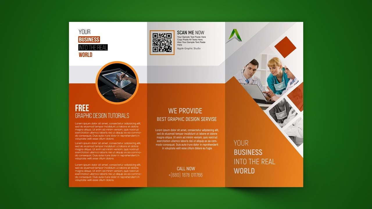 business tri fold brochure design photoshop tutorial youtube