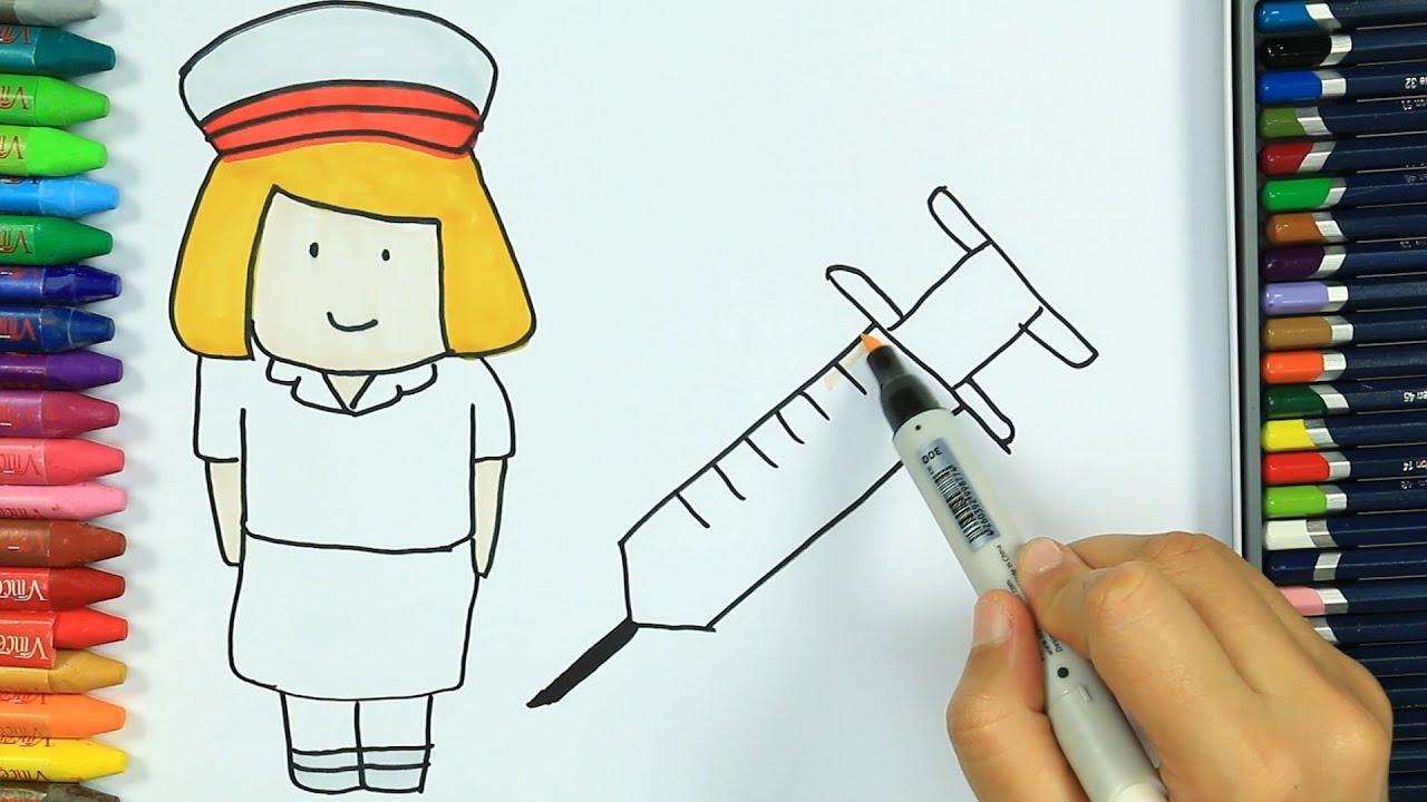 Hemşire Nasıl çizilir Boya Boya çizelim Boyayalım çocuklar
