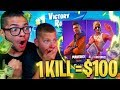 1 KILL = $100 FOR JAYDEN!!! 9 YEAR OLD LITTLE BROTHER PLAYS FORTNITE BATTLE ROYALE SOLOS OMG!!!