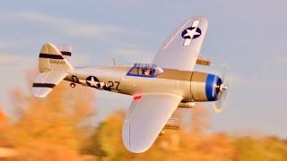 e flite p 47 razorback 1 2m rc flight demo on a 4 cell full ordanance deano horizon hobby 2016