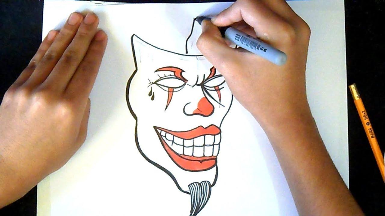Como Desenhar Um Palhaco Mascara Grafite Youtube