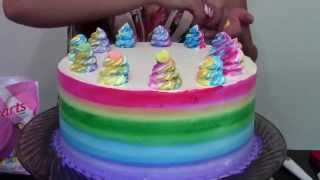 Quick And Easy Rainbow Cake- Cake Decorating