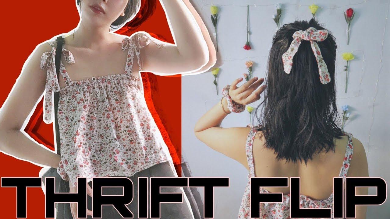 Thift flip – Ruffled tie straps top   May áo hai dây buộc nơ từ đồ cũ With Mi Ngan