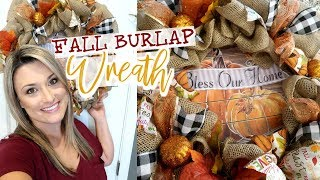 EASY FALL WREATH TUTORIAL | HOW TO MAKE A BURLAP WREATH | Cook Clean And Repeat