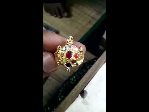 Gold Navarathna ring in turtle
