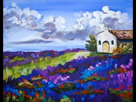 Lavender Field Landscape Step by Step Acrylic Painting on Canvas for Beginners