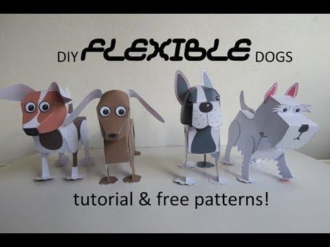 Diy flexible dogs - beweegbare honden - tutorial - papercraft - dutchpapergirl