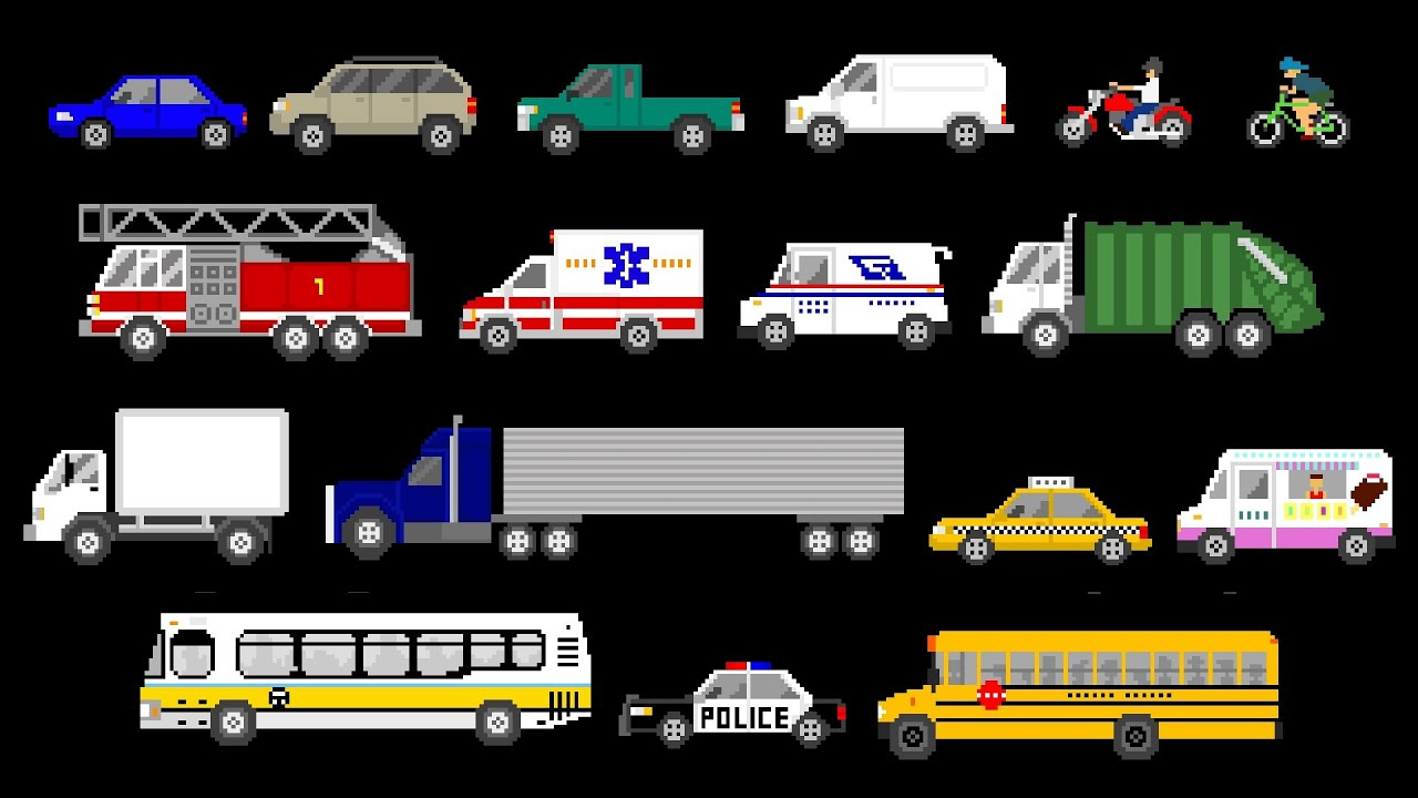 street vehicles cars and trucks the kids 39 picture show fun educational learning video. Black Bedroom Furniture Sets. Home Design Ideas