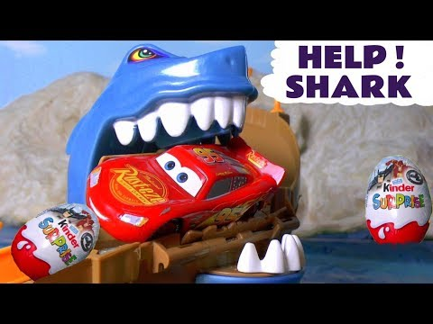 Disney Cars Toys McQueen Scary Shark Attack Racing with Kinder Surprise Eggs Justice League   TT4U