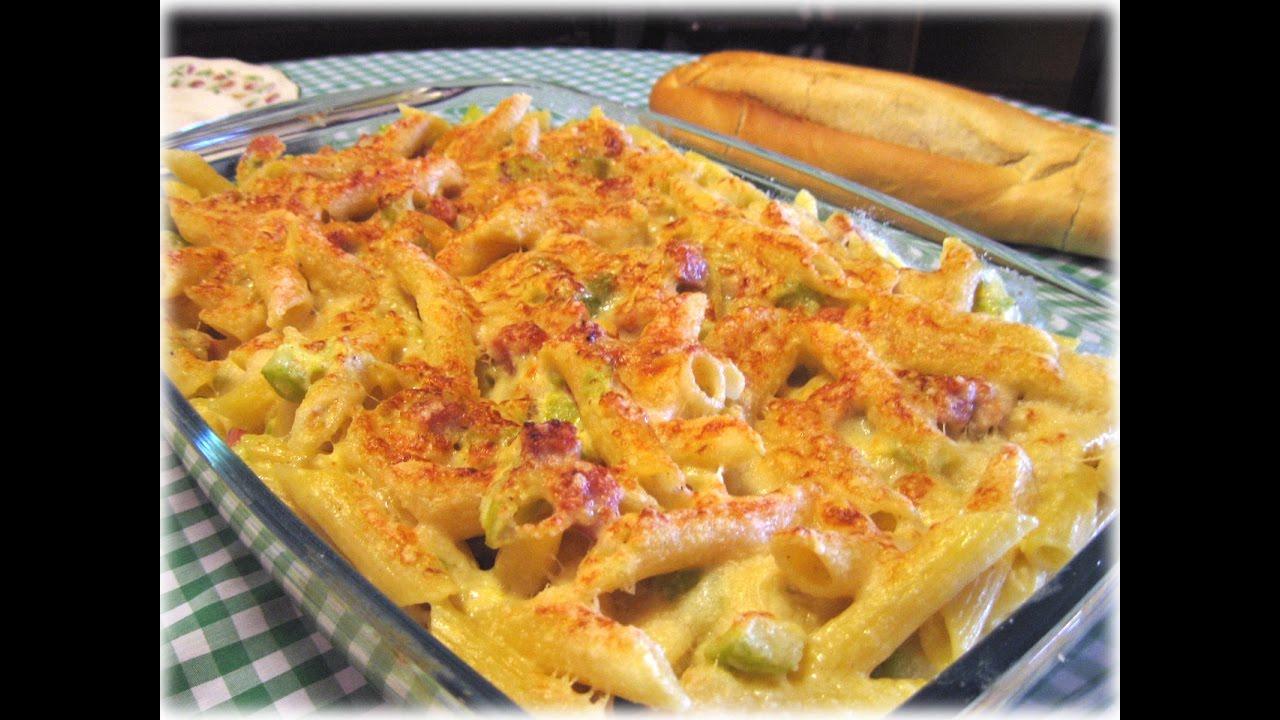 Pasta al horno con jam n y calabac n gratinado de macarrones a la crema youtube - Macarrones con verduras al horno ...