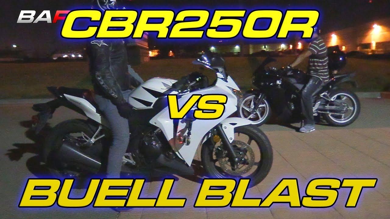 cbr250r vs buell blast + cbr250 wheelie - youtube