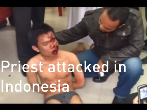 Priest injured in suspected terror attack at Indonesian church