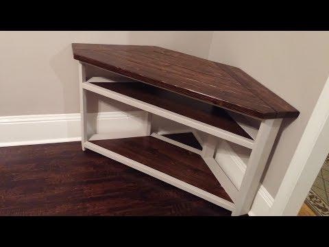 DIY Corner TV Stand - Farmhouse Style