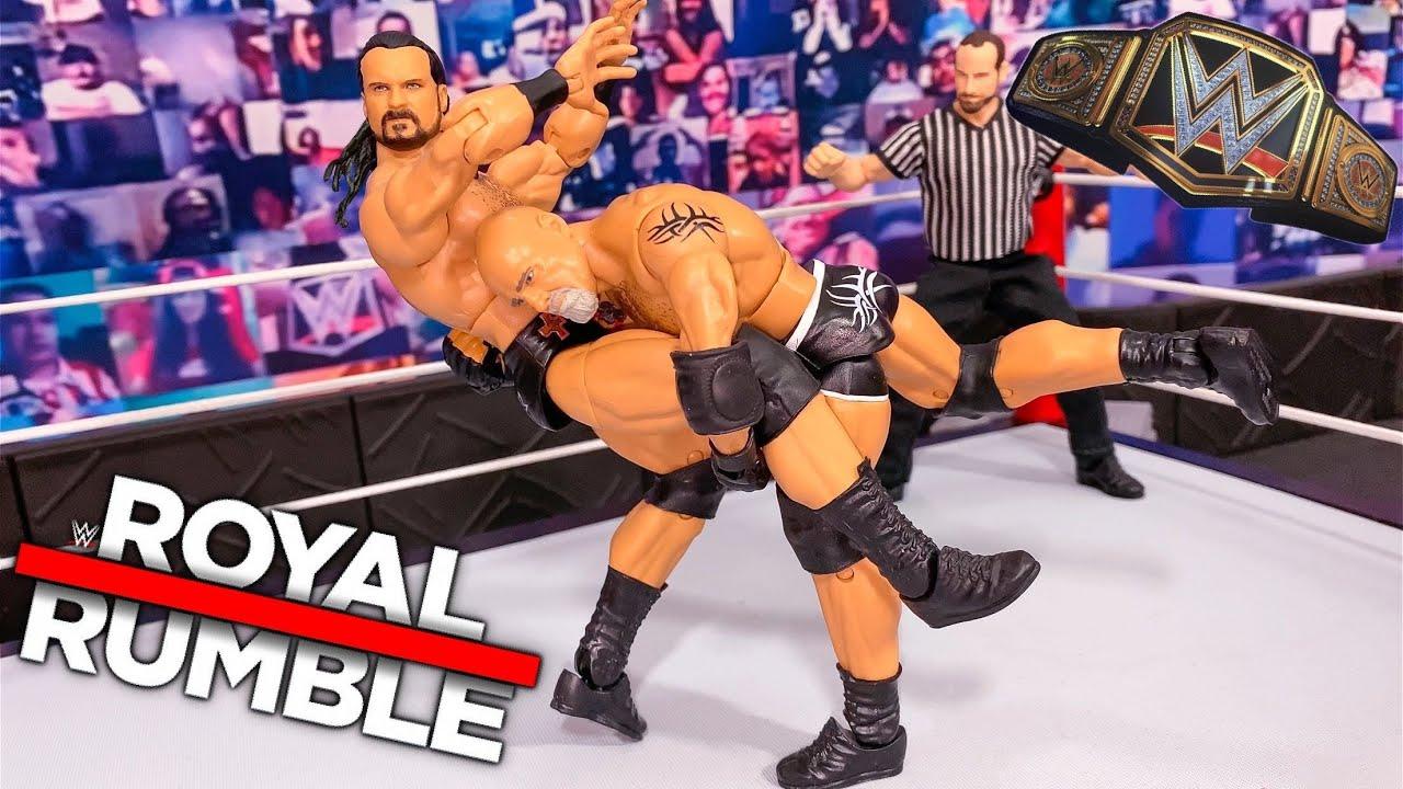 DREW MCINTYRE VS GOLDBERG WWE CHAMPIONSHIP ACTION FIGURE MATCH! ROYAL RUMBLE 2021!