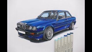 CAR DRAWING BMW E30