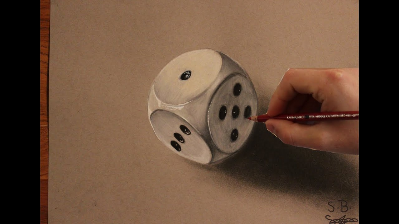 how to draw a 3d dice