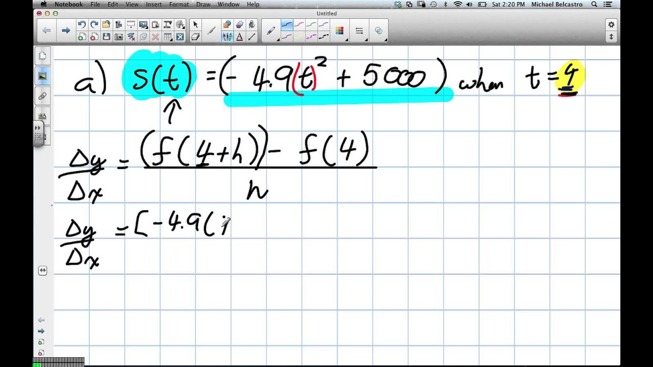 Instantaneous Rate of Change, Difference Quotient Grade 12 ...
