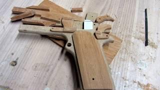 My First Wooden Pistol Handmade/ Blowback Rubber Band Gun