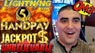 ✦5 HANDPAY JACKPOTS✦ On High Limit LIGHTNING CASH Slot Machine - HUGE HIGH LIMIT SLOT PLAY