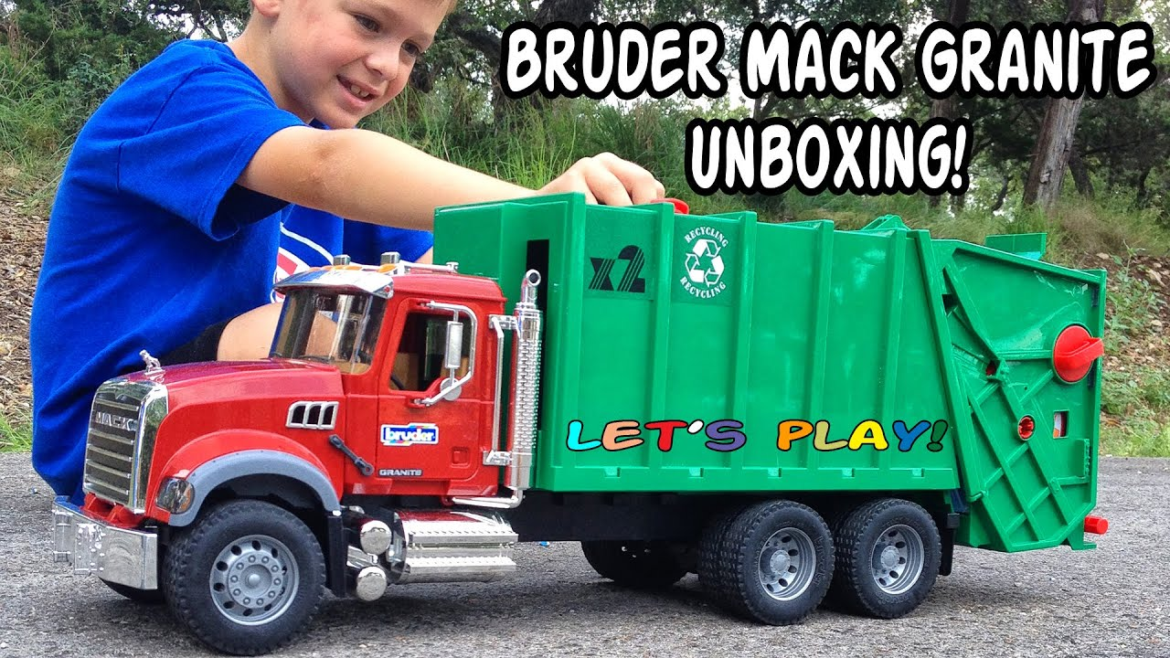Garbage truck videos for children l bruder mack granite unboxing and review youtube