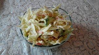 Крабовый салат с капустой, Салат за 5 минут!