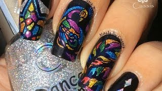 Peacock Stained Glass Stamping Nail Art