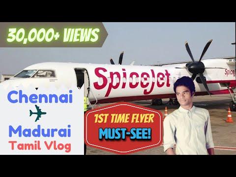 Chennai To Madurai Flight Experience | Take Off & Landing | Tamil Vlog | SpiceJet