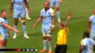 Dylan Hartley Red card for swearing at Wayne Barnes (with close-up replay)