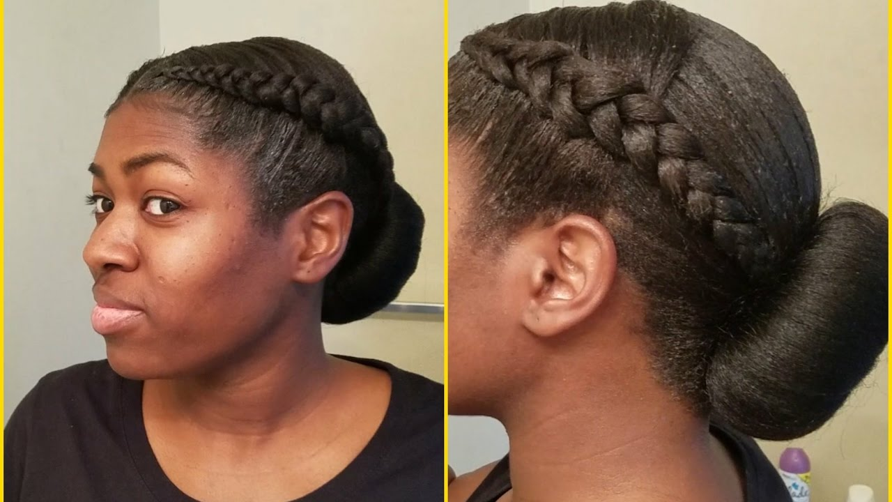 2 cornrows with low bun (protective hairstyle)