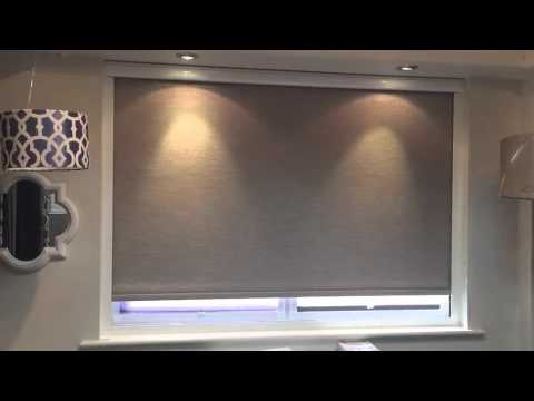 Motorised remote controlled blackout roller blind