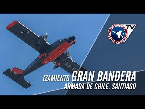 Armada de Chile Iza Gran Bandera Nacional en Santiago de Chile con sobrevuelo de P-68 Observer 2
