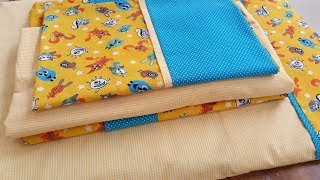 Jogo de lençol para bebê fácil de fazer