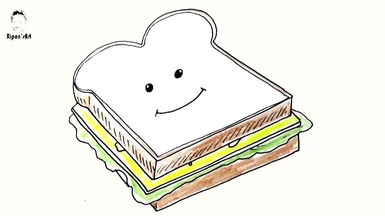 how to draw a cartoon sandwich easy sandwich food draw