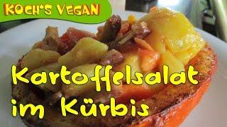 Mission Vegan 5 – Level 36 – Kartoffel-Tomatensalat im gebackenen Kürbis