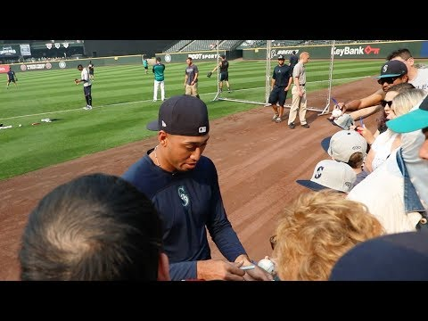 Getting autographs at Safeco Field