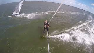 Kite vs windsurfer drag racing.