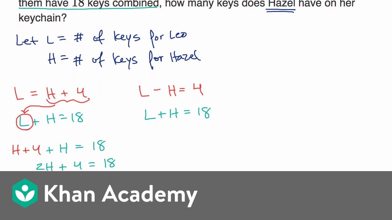 Systems of linear equations word problems — Basic example (video