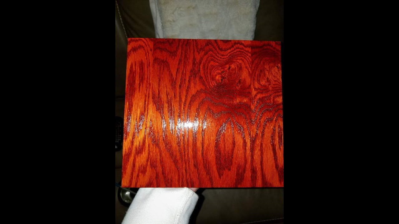 Fiery Vibrant Orange Wood Stain Using Liquid Solvent Dye