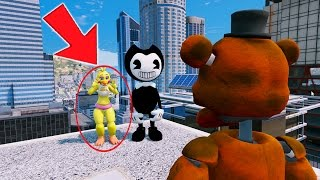 CAN WITHERED FREDDY SAVE CHICA FROM BENDY? (GTA 5 Mods For Kids FNAF Funny Moments)