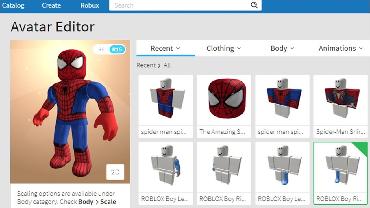 Model Catalog Roblox Making Spider Man A Roblox Account Youtube