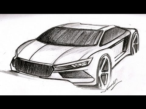 How To Draw A Super Car Tutorial Below Eye Level View Youtube